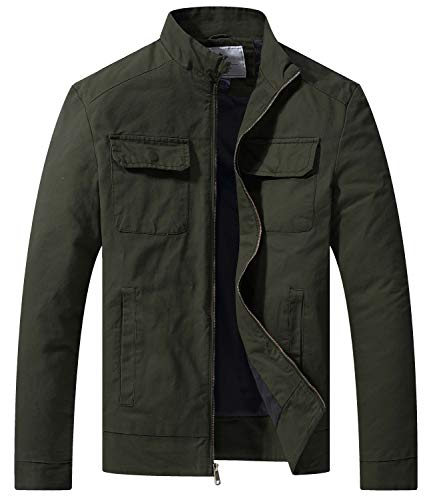 WenVen Men's Fall Casual Army Lightweight Jacket(Green, XX-Large)