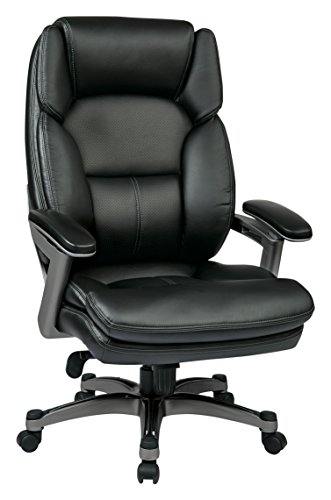 Office Star Bonded Leather Seat and Back Contour Executive Chair with Adjustable Arms and Titanium Coated Accents, Black
