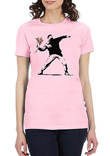 Banksy Flower Thrower - Womens Tee T-Shirt, Small, Light Pink