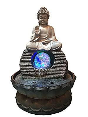 Sit down Buddha Tabletop Water Fountain with LED Lights 12 Inch Tall Decorative Sculpture with water well