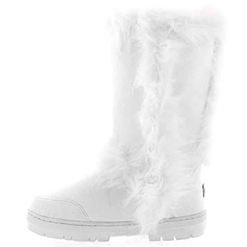 Mujer Largo Ajuste De La Piel Fully Forrada De Piel Impermeable Invierno Nieve Lluvia Botas Blanco
