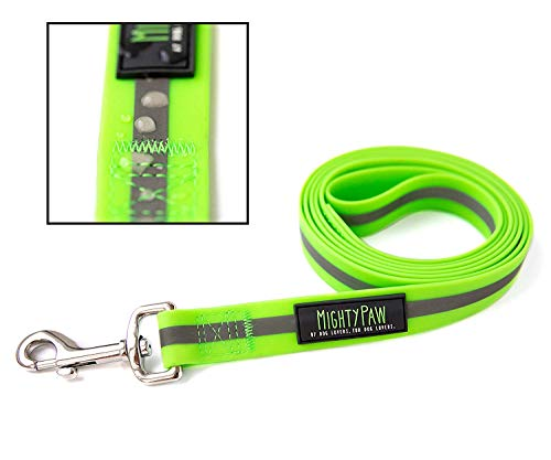 Mighty Paw Waterproof Dog Leash, Smell-Proof Active Dog Gear, Coated Nylon Webbing with Reflective Stripe. (Green, Standard) (Nylon Coated Webbing)