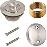 All Brass Lift and Turn Bathtub Tub Drain Assembly Brushed Nickel Drain Trim Waste and Two Hole Overflow Face Plate
