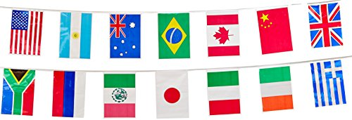 Beistle 57738 Party Supplies, International Flag Pennant Banner, -