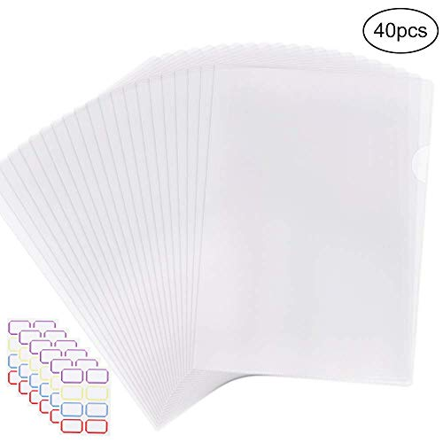 Clear Plastic Folders (EOOUT 40pcs Plastic Clear Document Folder, Project Pockets Folders with Pockets, for US Letter, A4 Size, Transparent Color, with 48)