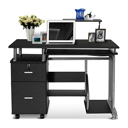Tangkula Computer Desk, Home Office Desk, Computer Workstation, Study Writing Desk with Storage Drawer and Pull-Out Keyboard Tray, Compact Laptop PC Workstation (Drawer With Computer Desk)