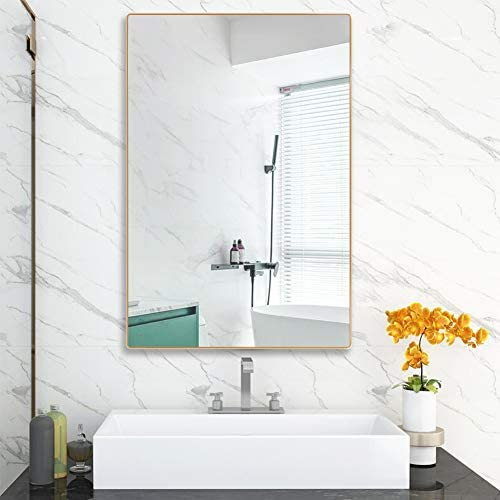 4EVER BEAUTI Bathroom Mirror,Mirror for Wall with Thin Golden Metal Frame 32x24x0.7, Decorative Wall Mirrors for Living Room,Bedroom, Glass Panel Rounded Corner Hangs Horizontal Or Vertical