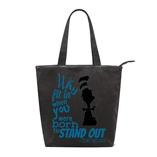 (Fashion Women's Multi-pocket Canvas Handbags Dr-Seuss-Quotes-why-fit-in-when-you- Shoulder Bags Totes)