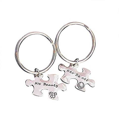 Meiligo Retro 2 Pcs Couples His Beauty Her Beast Letter Puzzle Dog Tag Necklace Key Chain Square Matching Engraved Puzzle Letter Jewelry (beauty and beast key (His Hers Dog Tags)