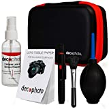 Deco Photo All-in-One Cleaning Kit for DSLR and Mirrorless Cameras - Includes Carry Case, Camera and Sensor Cleaning Spray, Lens Brush, Sensor Brush, and Dust Blower