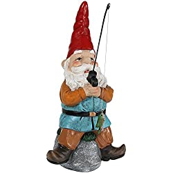 Sunnydaze Garden Gnome Floyd The Fishing Lawn Statue, Outdoor Yard Ornament, 12 Inch Tall