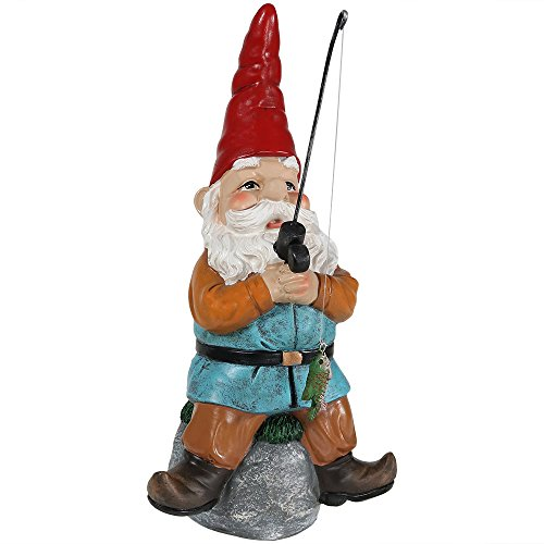Sunnydaze Garden Gnome Floyd the Fishing Lawn Statue, Outdoor Yard Ornament, 12 Inch Tall by Sunnydaze Decor