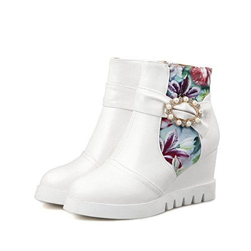 AgooLar Women's Assorted Color High Heels Round Closed Toe Pu Zipper Boots White P7rVNqqaw