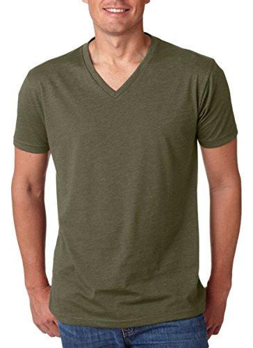 Next Level Mens 60% Cotton / 40% Polyester CVC V-Neck Tee - Military Green - XL (V-neck Cvc Tee)