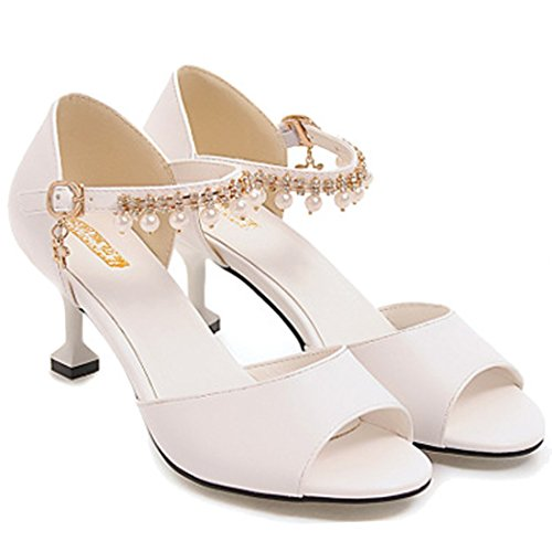 Ladies White Beaded Peep Shoes Party Heel Sexy Sandals VECJUNIA Kitten Toe Spqdwvggx