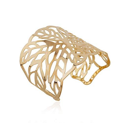 Elegant Yellow Gold Tone Openwork Floral Cuff Bangle Bracelet