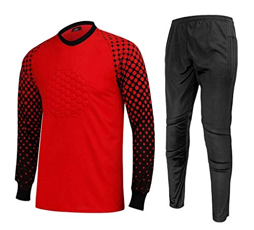 - CATERTO Men's Football Goalkeeper Foam Padded Jersey Shirt & Pants(Red,M) Tag Size: XL