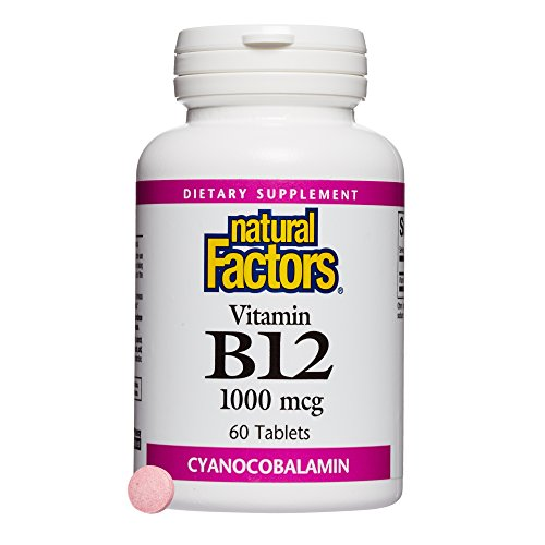Natural Factors, Vitamin B12 Cyanocobalamin 1000 mcg, Supports Energy and Red Blood Cell Production, 60 tablets (60 servings)