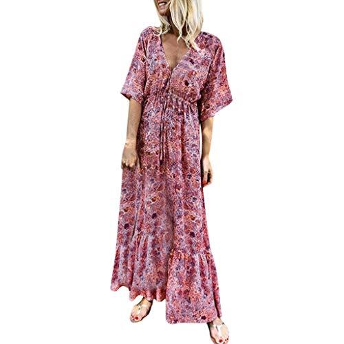 Women Dress,Caopixx Ladies Summer Deep V Multicolor Stripe Maxi Dress Casual Button Down Beach Sundress (Asia Size XL, C-Green) -