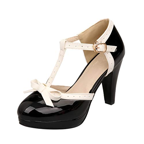 (Toimothcn Mary Jane Dress Women's Round Toe T-Strap Mid Heel Princess Pumps Shoes(Black,US:5))