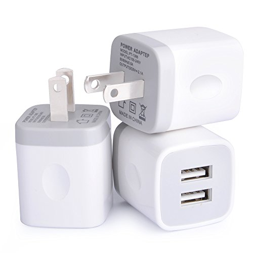 Dual USB Wall Charger, HUHUTA 3Pack 2.1A Home Travel Rapid USB Power Adapter Wall Charger Plug for iPhone iPad, Samsung Galaxy, Note, Nexus, HTC, Oneplus, Google, Motorola, Blackberry, Sony and (Usb Cell Phone Charger)