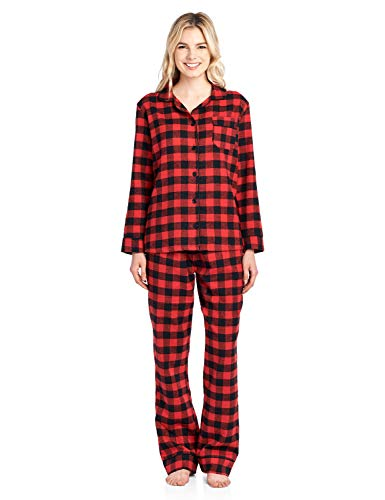 Ashford & Brooks Women's Flannel Plaid Pajamas Long Sleeve Button Down Pj Set, Red Buffalo Check, 4XL