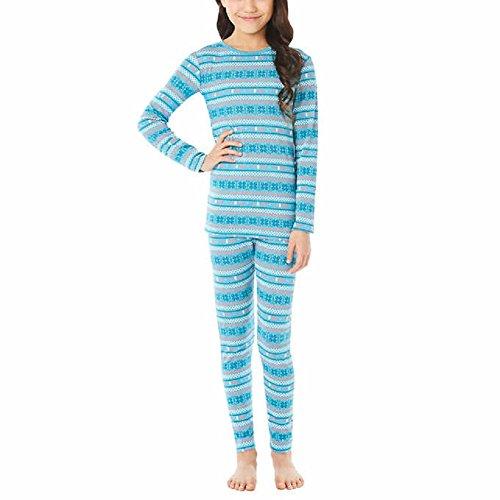 32 Degrees Weatherproof Big Girl's Base Layer Thermal Set, M, Teal Fair - Thermal Teal