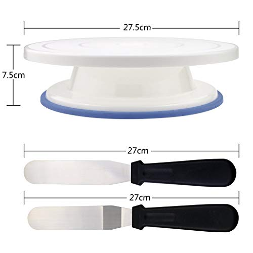 Whryspa 11 Inch Rotating Cake Turntable, Stand Spinner Baking Decorating Supplies with Icing Spatula, Icing Tips, Pastry Bag, Icing Smoother by Whryspa (Image #2)