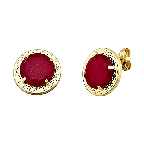 Boucled'oreille 18k rond or 10mm. centre chantournage rubis [AA5576]