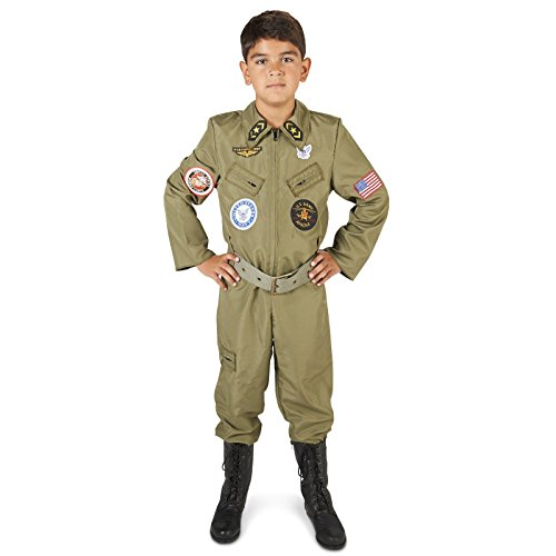 [Military Fighter Pilot Jumpsuit Child Costume L (12-14)] (Pilot Costumes Kids)
