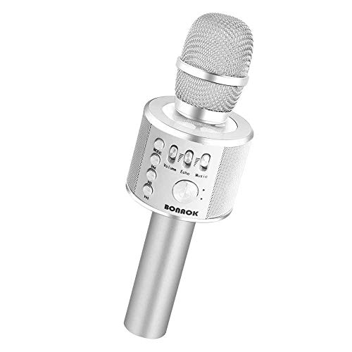 BONAOK Wireless Bluetooth Karaoke Microphone,3-in-1 Portable Handheld Karaoke Mic Speaker Machine Home Party Birthday Graduation Gift for iPhone/Android/iPad/Sony/PC/All Smartphone(Silver)
