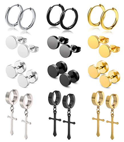(WAINIS 12Pairs Stud Earrings Cross Dangle Hinged Hoop Earrings Set for Men Women Stainless Steel Huggie Earring Set 18G)