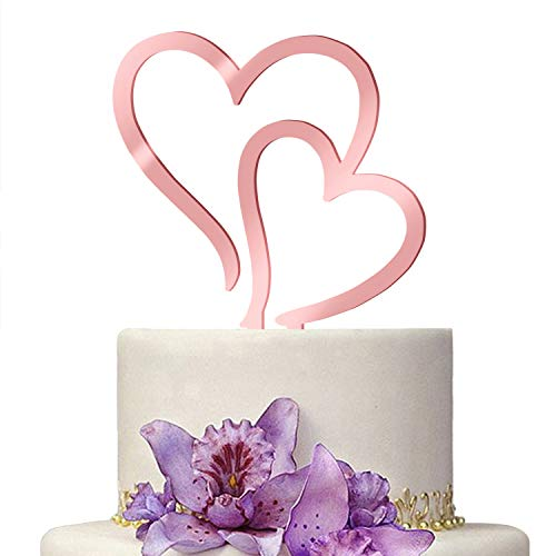 2019 New Cake Topper wedding Rose Gold Romantic Double Heart Shape decoration Cupcake Decorating Mirrored Acrylic Cake Stand For Wedding Party Decoration Perfect Keepsake (I)