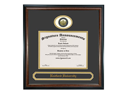 Signature Announcements Radford University (RU) Undergraduate and Doctorate Graduation Diploma Frame with Sculpted Foil Seal & Name (Matte Mahogany, 23 x - Diploma Radford University Frame