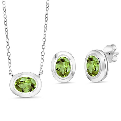 Gem Stone King 2.40 Ct Oval Green Peridot 925 Sterling Silver Pendant Earrings Set With Chain