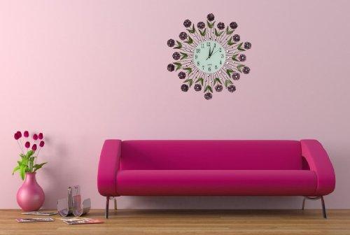 Lulu Decor Black Drop Wall Clock : Lulu decor flower burst wall clock quot number street
