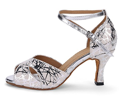 Wedding 5cm Dance Ballroom Sandals Flared Modern Evening Heel Shoes Heel Women's Salsa Joymod Silver Latin Tango Peep Toe 7 MGM Party Synthetic Print USa1vwSqO