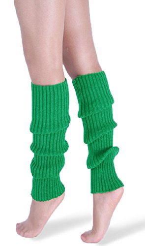 *daisysboutique* Retro Unisex Adult Junior Ribbed Knitted Leg Warmers (One Size, Dark Green)