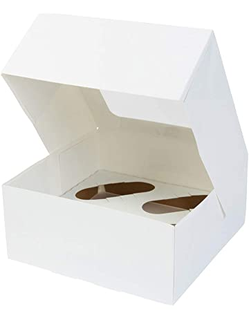 BIOZOYG Cajas para 4 Magdalenas, Cupcake Muffin con Inserto y Ventana de visión Grande I