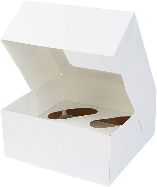 BIOZOYG Cajas para 4 Magdalenas, Cupcake Muffin con Inserto y ...