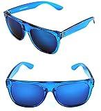 MEN'S FLAT TOP SUPER IMPERIO RETRO SUNGLASSES MIRROR LENSES (Blue, Blue)