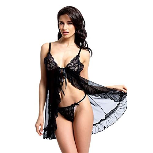 59bfff17f outlet BeLuring Womens Lace Strappy Mesh Flyaway Babydoll Chemise Lingerie  Clearance Sale