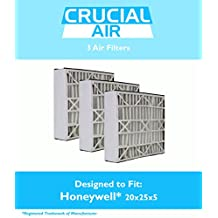 3 Honeywell FC100A1037 20x25x5 Merv 8 Replacement Air Filters Fit 20X25, 25X20, 25X22 F100, F200 & SpaceGard 2200, Designed & Engineered by Crucial Air