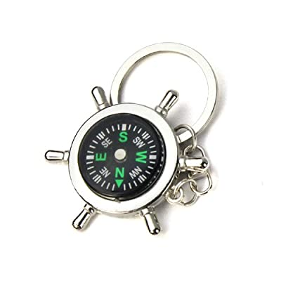 Mini Compass Carabiner Key Chain New Portable Alloy Silver Nautical Compass Helm Keychain Ring Chain Gift