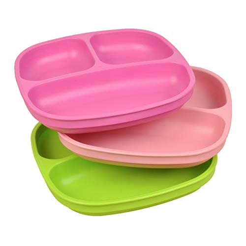 Re-Play Made in USA 3pk Divided Plates with Deep Sides for Easy Baby, Toddler - Bright Pink, Lime & Blush (Tulip) ()