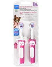 MAM Baby's Brush Set (2 Training Toothbrushes, 1 Safety Shield), Baby Toothbrushes with Brushy the Bear, Interactive App, For Girls 6+ Months, Pink