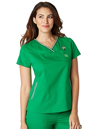 koi-by-general-mills-womens-ashley-crossover-v-neck-solid-scrub-top-small-emerald