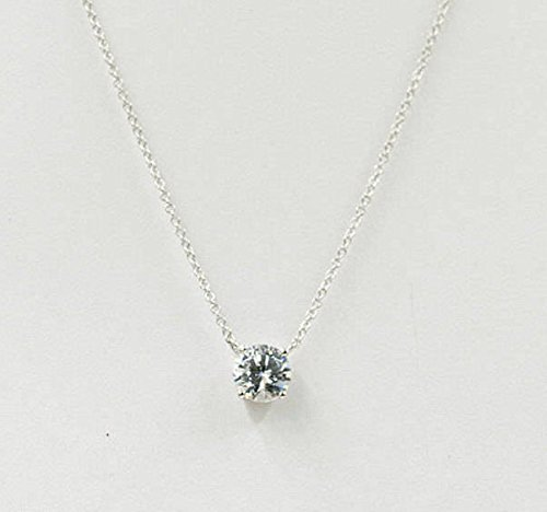 Simple Cubic Necklace/1.0Ct. High Quality Swarovski Cubic Zirconia Solitaire Necklace/14k White,Yellow Gold Necklace/Solitaire Necklace/Simple Dainty Pendant