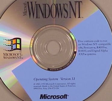 MICROSOFT 236-074-150 4075627 Win-NT 3.1, CD RSLR, SPEL, 4075627, 1 or 2 Proc, Retail, Microsoft Windows NT 3.1. Disc contains code to run on Windows NT