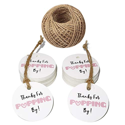 (Original Design Baby Shower Tags,Thanks for Popping by Gift Tags,5cm Round Pink Tags,100PCS Paper Tags for Wedding Party Favors with 100 Feet Jute Twine)